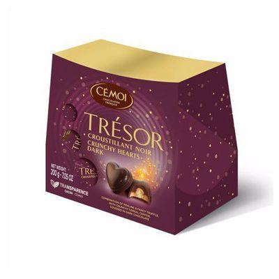 Коробка конфет горький шоколад с пралине Хрустящие сердца Трезор Cemoi 200 гр, фото 1