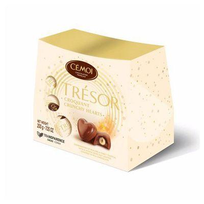 Молочный шоколад с пралине и цельным фундуком Хрустящие сердца Трезор Cemoi 200 гр, фото 1