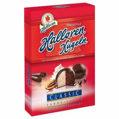 Конфеты с начинкой из миндального крема и какао в темном шоколаде Kugeln Halloren 125 гр, фото 1