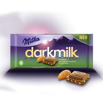 Шоколад с кусочками миндаля Darkmilk Almond Milka 85 гр, фото 2