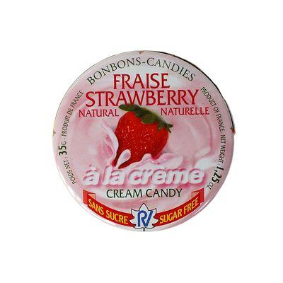 Леденцы без сахара клубника со сливками Fraise Strawberry Rendez Vous 35 гр, фото 4