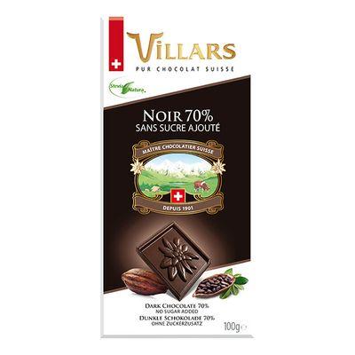 Горький шоколад без добавления сахара Villars 100 гр, фото 1