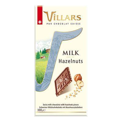 Швейцарский молочный шоколад с кусочками фундука Villars 100 гр, фото 2