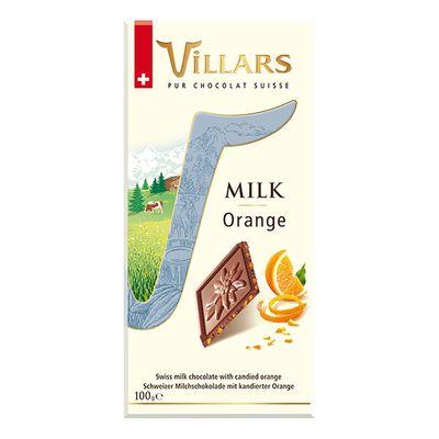 Молочный шоколад с апельсиновыми цукатами Villars 100 гр, фото 1