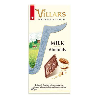 Швейцарский молочный шоколад с кусочками миндаля Villars 100 гр, фото 1