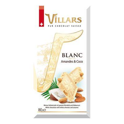 Белый шоколад с цельным миндалём и карамелизованным кокосом Villars 180 гр, фото 2