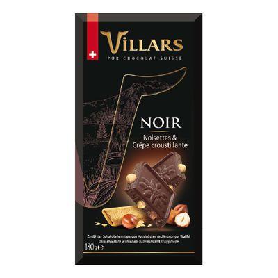 Тёмный шоколад с цельным фундуком и хрустящими вафлями Villars 180 гр, фото 2