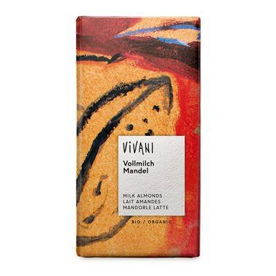 Шоколад молочный органик с миндалем 20% Vivani 100 гр, фото 1