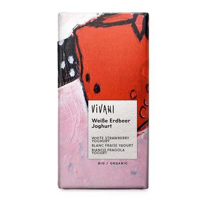 Шоколад органик белый с кусочками клубники и йогуртом Vivani 80 гр, фото 1