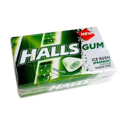 Жевательная резинка без сахара мята Spearmint Ice Rush Halls 18 гр, фото 2