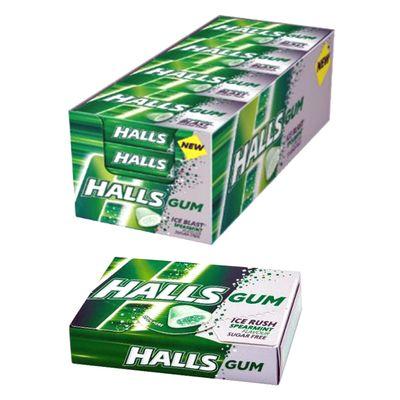 Жевательная резинка без сахара мята Spearmint Ice Rush Halls 18 гр, фото 3