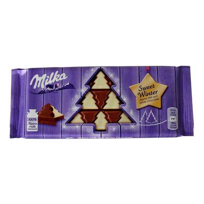 Шоколад в виде елки молочный и белый Sweet Winter Milka 100 гр, фото 2