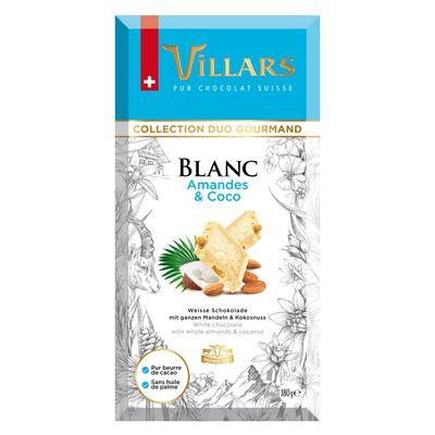 Белый шоколад с цельным миндалём и карамелизованным кокосом Villars 180 гр, фото 1