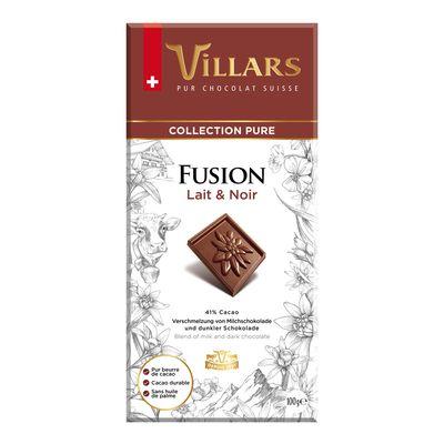 Молочный и темный шоколад Fusion 44% Villars 100 гр, фото 1
