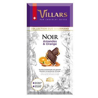 Тёмный шоколад с цельным миндалём и апельсиновыми цукатами Villars 180 гр, фото 1